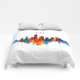Dallas Watercolor Skyline Comforters