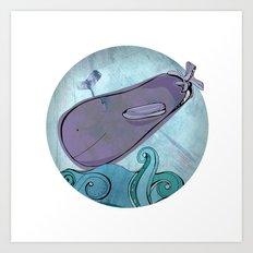 Eggplant Whale Art Print
