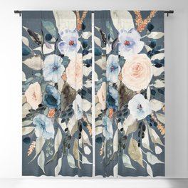 Loose Watercolor Bouquet on Blue Blackout Curtain