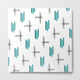 Teal Mid Century Modern Stripes & Lines Metal Print