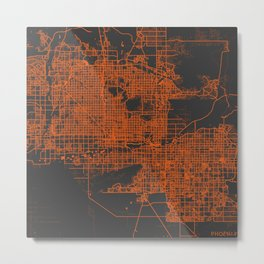 Phoenix map orange Metal Print