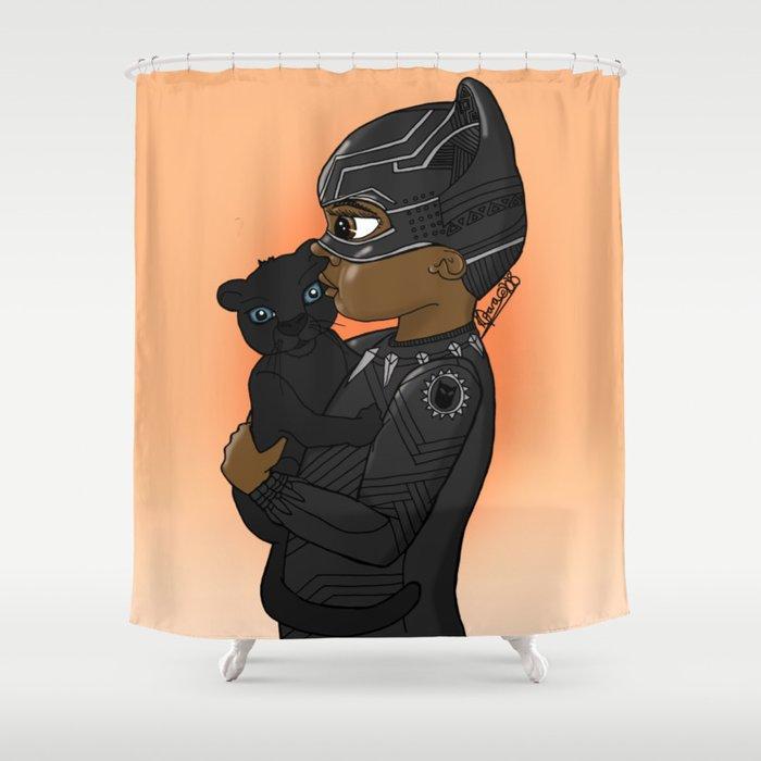 cc0025ff883 KIDS OF WAKANDA - BABY T CHALLA Shower Curtain by dinkymix