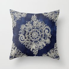 Cream Floral Moroccan Pattern on Deep Indigo Ink Throw Pillow