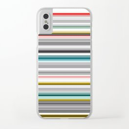 grey and colored stripes Clear iPhone Case
