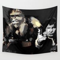 chewbacca Wall Tapestries featuring Han Solo & Chewbacca by Berta Merlotte