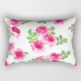 Raspberry Pink Painted Roses on White Rectangular Pillow