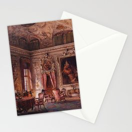 Interior Portrait, Music Room, The Salone of the Palazzo Barbaro by Ludwig Passini Stationery Cards