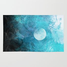 Teal Abstract Mountains Rug