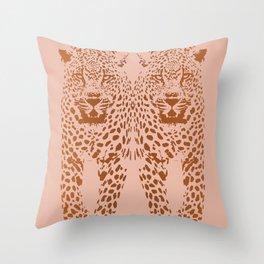 Sunset Blvd Leopard - blush pink and coral original print by Kristen Baker Throw Pillow