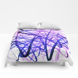 Violet Chaos Expressive Lines Abstract Comforters