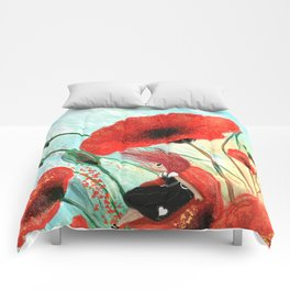 Poppies in the wind Comforters