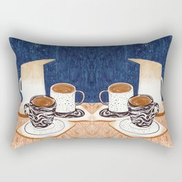 Coffee for Two Drawing by Amanda Laurel Atkins Rectangular Pillow