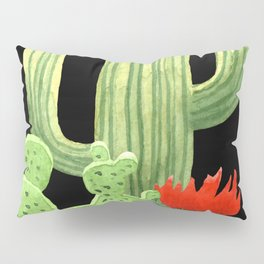Perfect Cactus Bunch on Black Pillow Sham