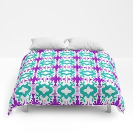 Kurt - Symmetrical Digital Art in Aqua, Purple and White Comforters