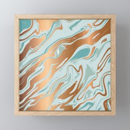 Liquid Green Marble and Gold 006 Framed Mini Art Print