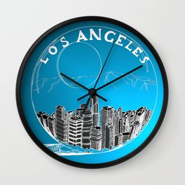 Los Angeles in a glass bowl on blue background Wall Clock