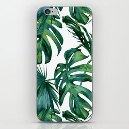 Classic Palm Leaves Tropical Jungle Green iPhone Skin