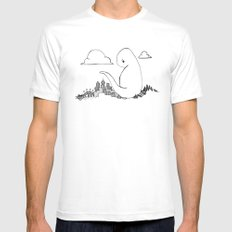 Angry Dino Mens Fitted Tee MEDIUM White
