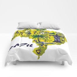 Abstract Brazil Soccer Mural Comforters
