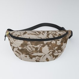 big tropical florals in sepia line texture Fanny Pack