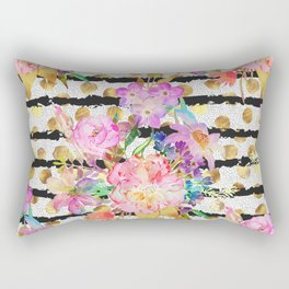 Elegant spring flowers and stripes design Rectangular Pillow