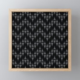 Art Deco 46 . Fishnet black gray zigzag . Framed Mini Art Print
