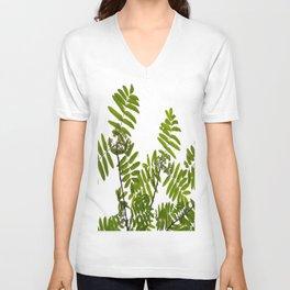 Green Rowan Leaves White Background #decor #society6 #buyart Unisex V-Neck