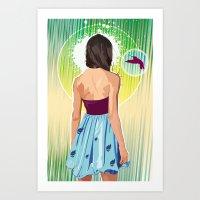 gorillaz Art Prints featuring Humming Bird by Matt Fontaine Creative