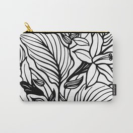 White Black Floral Minimalist Carry-All Pouch