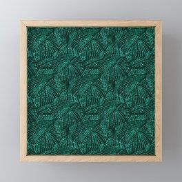 Elegant abstract black emerald green tropical palm tree Framed Mini Art Print