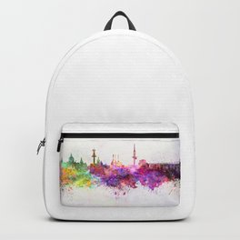 Hannover skyline in watercolor background Backpack