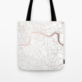 White on Rosegold London Street Map Tote Bag