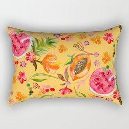 Tropical Fruit Festival in Yellow   Frutas Tropicales en Amarillo Rectangular Pillow