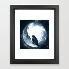The crow and its Moon. (bcn art version) Framed Art Print