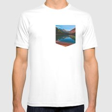 Somewhere in the Rockies MEDIUM Mens Fitted Tee White