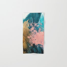 Coral Reef [1]: colorful abstract in blue, teal, gold, and pink Hand & Bath Towel