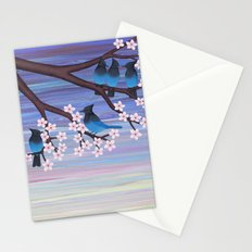 Steller's jays and cherry blossoms Stationery Cards