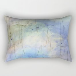 Watercolored Love Scene - Heartbeat Blues Rectangular Pillow