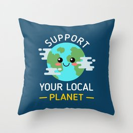 Support Your Local Planet Throw Pillow