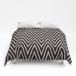 Navy Gold Chevron Pattern Comforters