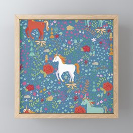 Colorful Unicorn Pattern Framed Mini Art Print