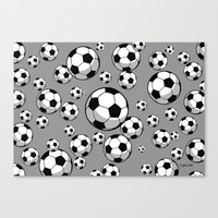 soccer Canvas Prints featuring Soccer by joanfriends