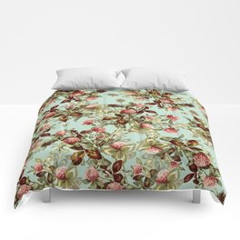 Vintage shabby green pink coral floral pattern Comforters