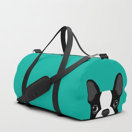 Boston Terrier Peek - Black on Teal Duffle Bag