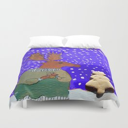 Moose with Tea Duvet Cover