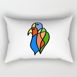 Two Colored Birds Rectangular Pillow
