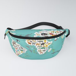 Cartoon animal world map for children and kids, Animals from all over the world back to school Fanny Pack