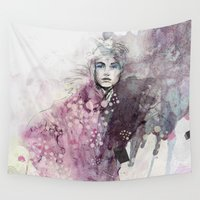 fashion illustration Wall Tapestries featuring FASHION ILLUSTRATION 15 by Justyna Kucharska