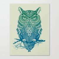 contact Canvas Prints featuring Warrior Owl by Rachel Caldwell