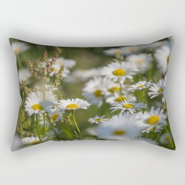 Daisies meadow in the summer Rectangular Pillow